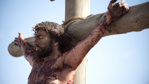 Jesus on the cross, as portrayed by Adam Bond.