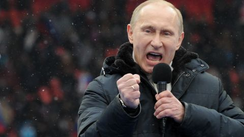 Vladimir Putin delivers a speech during a rally of his supporters at the Luzhniki stadium in Moscow on February 23, 2012.