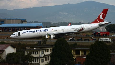 The Turkish Airlines plane came to a stop with its nose pitched down at Kathmandu's international airport.