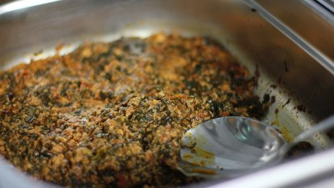 A Ghanaian stew or soup made of coco yam leaves, similar to spinach.