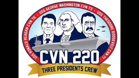 In the swap, sailors serving on the carriers Ronald Reagan, George Washington and Theodore Roosevelt will have their own insignia and hull number.