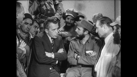 American talk-show host Ed Sullivan interviews Castro on a taped segment in 1959.