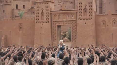 """The southern Moroccan town of Ouarzazate and its surrounding areas have been home to several international TV and film productions, including scenes for the global hit """"Game of Thrones."""" In this scene from the 10th episode of the third series of the TV show, the character Daenerys Targaryen is a princess living in exile -- the filming took place near  Ouarzazate."""
