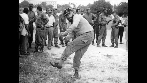 Castro plays baseball in 1964.