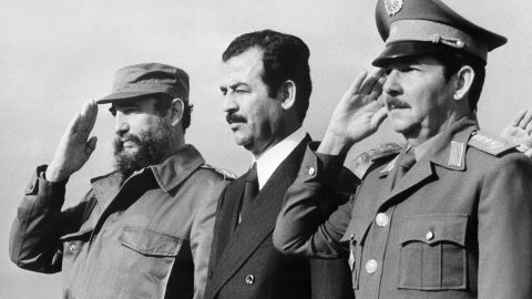 Iraq's Saddam Hussein, center, with the Castro brothers during a visit to Cuba in January 1979.