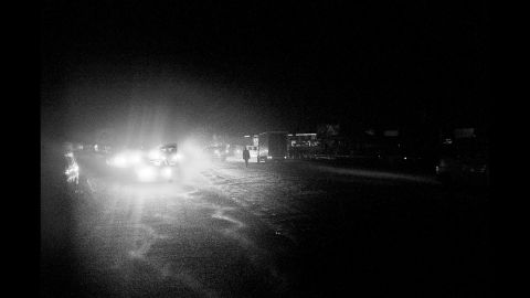 A night scene on the road from N'djili to Kinshasa.