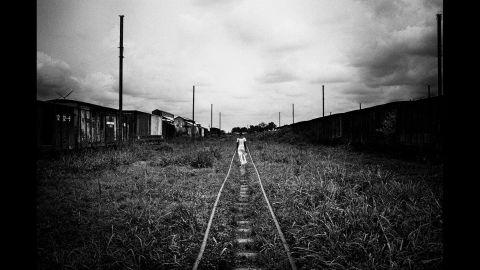 Train tracks at the Kananga train station.