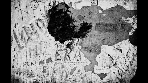 A damaged wall in a Kananga jail.