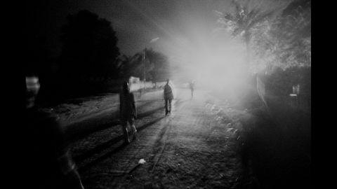 The streets of Kananga at night.