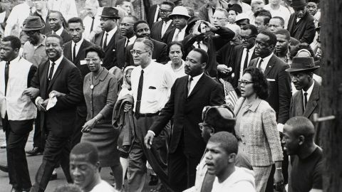 """The Rev. Martin Luther King Jr. arrives in Alabama's state capital at the end of the Selma-to-Montgomery march a few weeks after """"Bloody Sunday."""" The Selma campaign is widely considered King's greatest victory."""