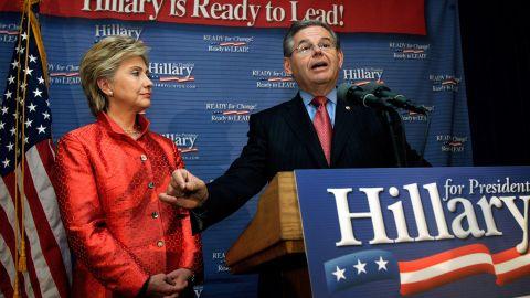 Sen. Robert Menendez announces his endorsement of Hillary Clinton for president in 2007.