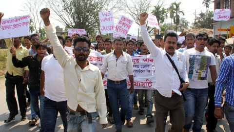 Protesters in Tinsukia demonstrate on March 8, 2015 against the mob killing of a man accused of rape in neighbouring Nagaland state. Police in India charged 18 people on March 8 after a frenzied mob stormed a prison and lynched a man accused of rape in the country's northeast, as tensions remained high, a senior officer said. AFP PHOTO / Manash Pratim GogoiManash Pratim Gogoi/AFP/Getty Images