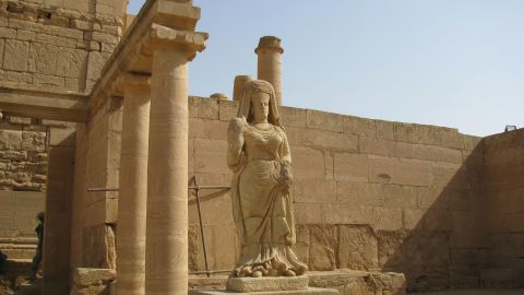 Hatra, World Heritage Site: Statue of the goddess Shamiya or Shahiro. The city was settled in the 3rd c. BC and present-day remains dated back to between the !st century BC and the 2nd century AD.  The remains of the temples blended Hellenistic and Roman architecture with Eastern decorative features, attesting to its importance as a trading crossroads on the Silk Road.  Suzanne Bott, Oct. 2009