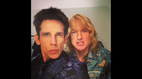 """""""Apparently Derek and Hansel have come to terms on #Zoolander2,"""" <a href=""""https://instagram.com/p/0DRKlAnMBb/?modal=true"""" target=""""_blank"""" target=""""_blank"""">wrote actor Ben Stiller,</a> left, in character with fellow """"Zoolander"""" star Owen Wilson on Tuesday, March 10. The two <a href=""""http://www.cnn.com/2015/03/10/living/feat-zoolander-hansel-valentino/index.html"""" target=""""_blank"""">made a surprise appearance</a> at Paris Fashion Week, dressed as the male models they played in the popular 2001 movie."""