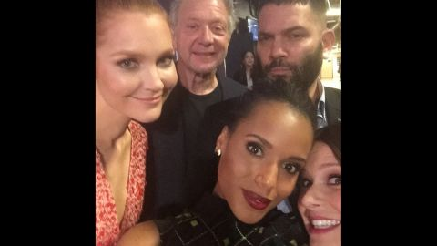 """Actress Kerry Washington, bottom left, snaps a photo <a href=""""https://instagram.com/p/z_Z8j5gBio/?modal=true"""" target=""""_blank"""" target=""""_blank"""">with her """"#ScandalFam""""</a> during the PaleyFest event in Los Angeles on Sunday, March 8."""