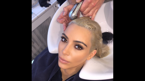 """""""It's hard out here for a platinum pimp,"""" television personality Kim Kardashian <a href=""""https://instagram.com/p/0AbNMvOS3m/?modal=true"""" target=""""_blank"""" target=""""_blank"""">said on Instagram</a> on Monday, March 9. """"Thank you @FredericMennetrier for touching up my blonde!"""""""