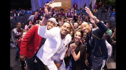 Actor Lamman Rucker takes a selfie Saturday, March 7, during the Disney Dreamers Academy weekend in Lake Buena Vista, Florida.