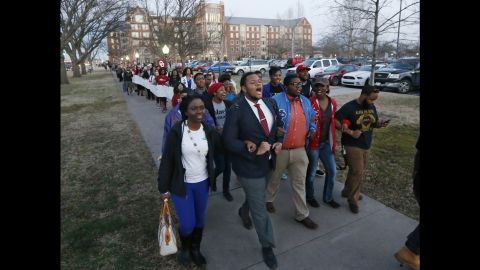 """University of Oklahoma students march to the now-closed fraternity house of Sigma Alpha Epsilon during a rally in Norman, Oklahoma, on Tuesday, March 10. The university's president <a href=""""http://www.cnn.com/2015/03/11/us/oklahoma-racist-chant/index.html"""" target=""""_blank"""">expelled two students Tuesday</a> after he said they were identified as leaders of a racist chant that was captured on video."""