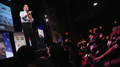 Walker speaks to guests at the Iowa Freedom Summit on January 24, 2015, in Des Moines, Iowa.