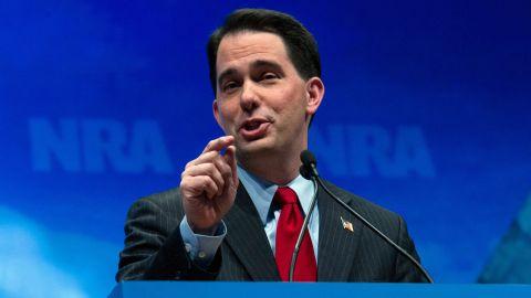 Walker addresses the National Rifle Association Leadership Forum April 13, 2012, in St. Louis, Missouri.
