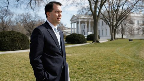 Walker stands on the North Lawn of the White House before making remarks to the news media after a meeting of the National Governors Association with President Barack Obama on February 27, 2012.