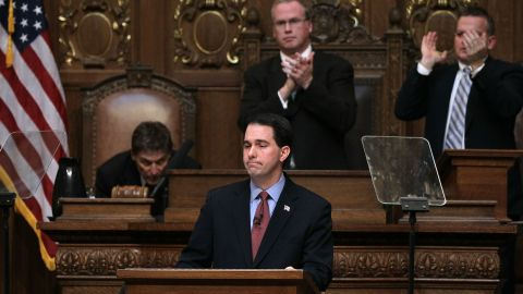 Walker delivers his budget address to a joint session of the legislature at the capitol March 1, 2011 in Madison, Wisconsin.
