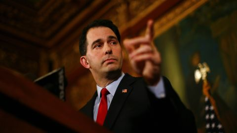 Walker speaks at a news conference inside the Wisconsin State Capitol February 21, 2011, in Madison, Wisconsin.