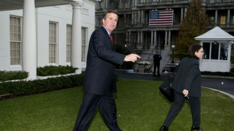 Bush walks out of the West Wing after meeting with his brother, then-President George W. Bush, at the White House January 9, 2002. Governor Bush participated in the signing ceremony of the Everglades Protection Agreement.