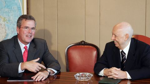 Bush (left) speaks with Brazilian President in charge Jose Alancar during a meeting at Planalto Palace in Brasilia,  April 17, 2007. Bush was in Brazil to speak about sugar and ethanol business.
