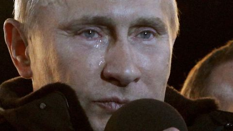 During a rally in Moscow, tears run down Putin's face after he was elected president for a third term in March 2012.
