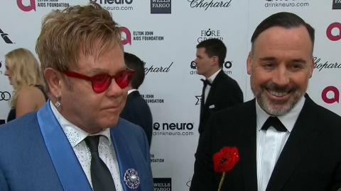 Elton John with partner David Furnish, February 22, 2015