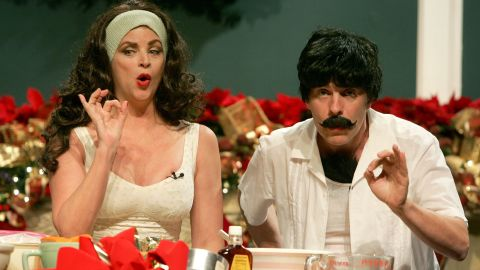 Actress Kirstie Alley and actor Tait Ruppert perform during the Church of Scientology's Christmas Stories XIV benefit in December 2006.