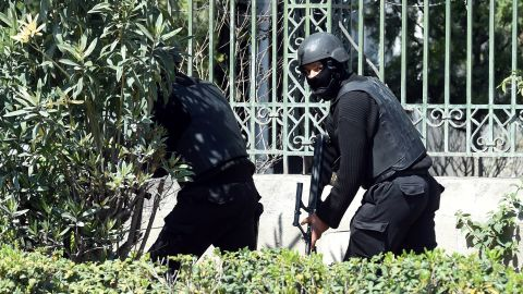 Security forces secure the area around museum.
