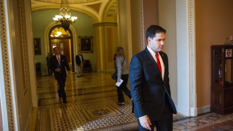 Rubio returns to the Capitol after meeting with Obama and other Republican leaders about the government shutdown in October 2013.