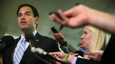 Rubio talks to reporters in June after a closed door briefing on Capitol Hill.