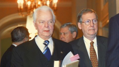 """Sen. Robert Byrd, D-West Virginia, and McConnell enter the """"Old Senate Chamber"""" in January 1999 to attend a bipartisan caucus to possibly establish rules and guidelines for the impeachment trial of President Bill Clinton."""