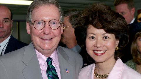 McConnell poses with wife Elaine Chao at the 128th running of the Kentucky Derby at Churchill Downs in Louisville in May 2002.