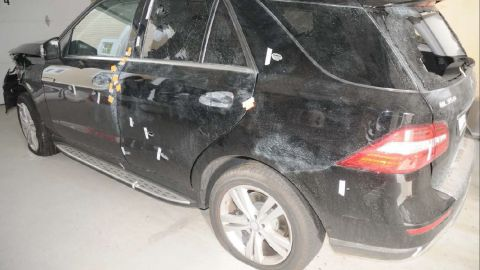 The Tsarnaevs had carjacked a Mercedes SUV in Watertown before the shootout. The vehicle was covered in bulletholes, and the rear window was shattered.
