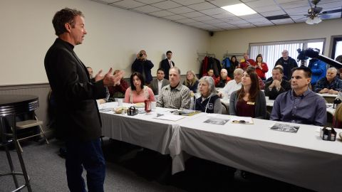 Paul speaks in Rochester, New Hampshire, prior to meeting potential voters in March.