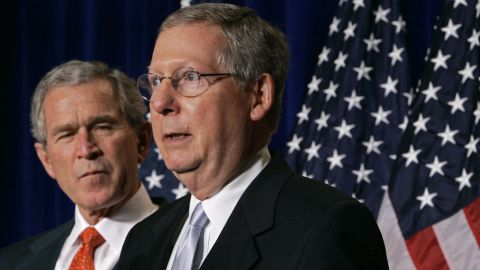 McConnell introduces then-President George W. Bush at a National Republican Senatorial Committee Reception in Washington in October 2006.