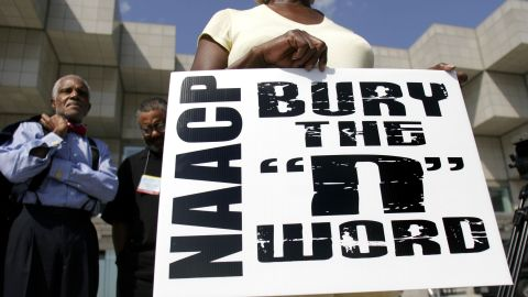 A mock funeral to symbolically bury the 'N-word' is held at the 98th Annual NAACP National Convention July 9, 2007 in Detroit, Michigan. The funeral is part of the NAACP 'STOP' campaign which aims to eliminate the negative portrayal of African Americans in the media.