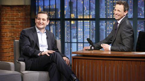 """Late Night"" host Seth Meyers interviews Cruz on Monday, March 16."