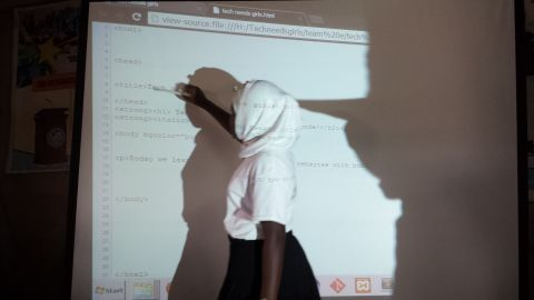 In Agyare's coding classes she teaches the girls how to build in HTML, with the hope that one day they can use the skills in their future careers.