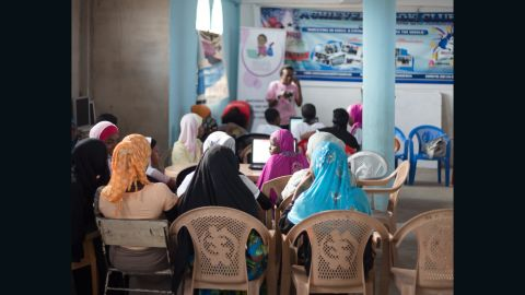 Young girls in Nima, a slum in north Accra, are receiving coding lessons in this  classroom, located above a local mosque.