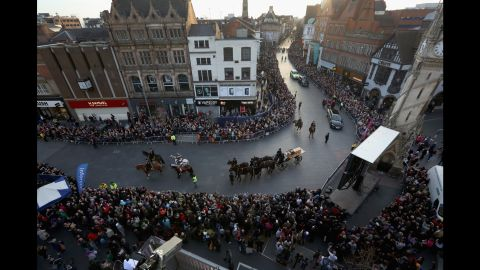 The King's coffin is carried in a procession in Leicester on March 22.