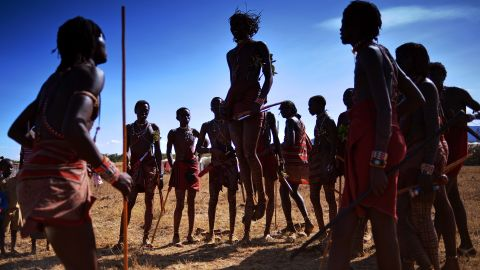 """The """"adumu"""" (""""jumping dance"""") is a Maasai warrior rite of passage. Warriors who jump highest can be considered as future chiefs."""