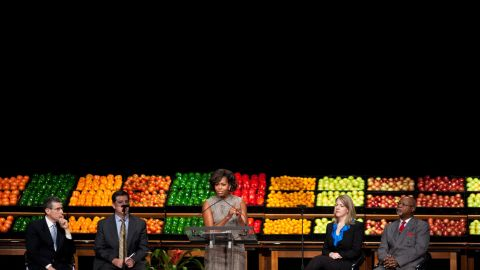Through the initiative, millions of kids are attending healthier day care centers, where fruits and vegetables have replaced cookies and juice. Michelle Obama speaks at a Let's Move! Walmart announcement at The Arc in Washington in 2010.