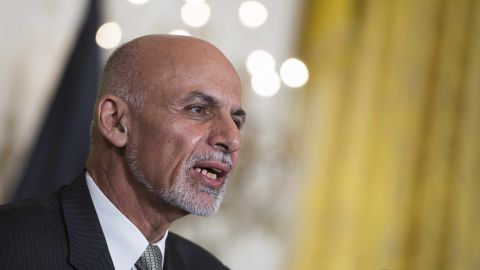 Afghanistan President Ashraf Ghani speaks during a joint press conference at the White House in Washington, DC, March 24, 2015.