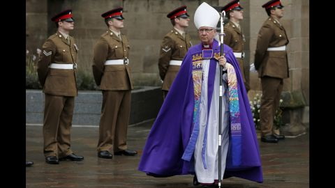 The Bishop of Leicester, Tim Stevens, arrives at Leicester Cathedral for the reinterment ceremony on March 26.