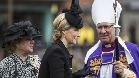 Sophie, Countess of Wessex, is greeted by Stevens at the cathedral.